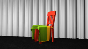 Chair with fabric. For decoration on black carpet floor in front of a white curtain. 3d rendering vector illustration