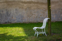 Chair at farm yard the chateau Milotice Stock Photography