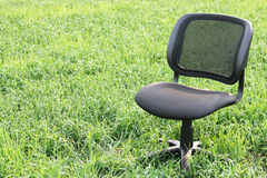 Chair in the field. Chair stands on the lawn Royalty Free Stock Images
