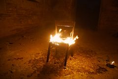 Chair on fire Royalty Free Stock Photos