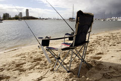 Chair for fishing Stock Photos