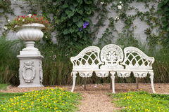 Chair and flower. In garden Royalty Free Stock Images