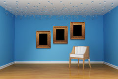 Chair with frames in blue room. Alone white chair with frames in blue room Royalty Free Stock Photo