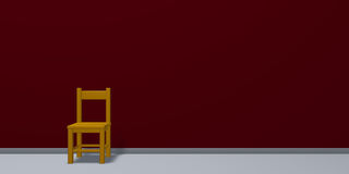 Chair in front of red wound. 3d rendering Royalty Free Stock Photo