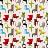 Chair furniture seamless pattern Stock Photography