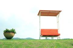Chair in garden. Orange Chair in summer garden Royalty Free Stock Photos