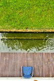 Chair garden pond top view royalty free stock photos