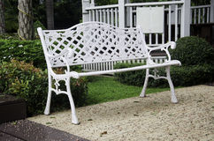 Chair in the garden. White chairs in the garden Royalty Free Stock Photo