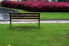 A chair in garden in Zhangjiang Shanghai. A chair in a park in Zhangjiang hi-tech park in pudong, shanghai, china Royalty Free Stock Image