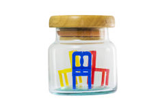 Chair and glass jar. Chair in a glass jar Stock Images