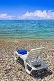 Chair at greek beach Stock Photo