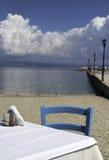 Chair in greek taverna Stock Image