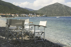 Chair in greek taverna Stock Photography