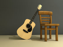 Chair and guitar. A chair and a classic guitar on stage - 3d render Royalty Free Stock Image