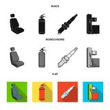Chair with headrest, fire extinguisher, car candle, petrol station, Car set collection icons in black, flat, monochrome. Style vector symbol stock illustration Royalty Free Stock Photography