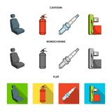 Chair with headrest, fire extinguisher, car candle, petrol station, Car set collection icons in cartoon,flat,monochrome. Style vector symbol stock illustration Royalty Free Stock Images