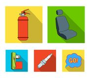 Chair with headrest, fire extinguisher, car candle, petrol station, Car set collection icons in flat style vector symbol. Stock illustration Stock Photo