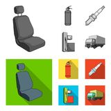 Chair with headrest, fire extinguisher, car candle, petrol station, Car set collection icons in monochrome,flat style. Vector symbol stock illustration Stock Photo