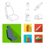 Chair with headrest, fire extinguisher, car candle, petrol station, Car set collection icons in outline,flat style. Vector symbol stock illustration Royalty Free Stock Images