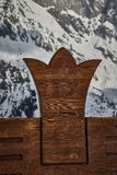 A chair with a Hochkönig symbol. stock photo