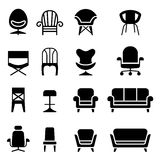 Chair icon set in front view. Vector illustration Graphic design Royalty Free Stock Photo