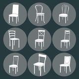Chair icon set. symbol furniture Royalty Free Stock Photo