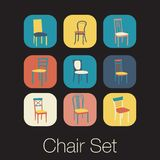 Chair icon set. symbol furniture Stock Photography