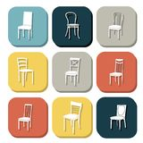 Chair icon set. symbol furniture Royalty Free Stock Image