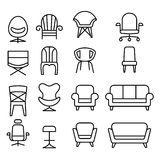 Chair icon set in thin line style. Vector illustration Royalty Free Stock Photos