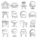 Chair icons Royalty Free Stock Photography