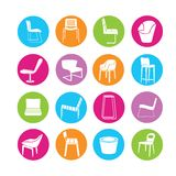 Chair icons Royalty Free Stock Images