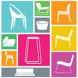 Chair icons set Stock Image