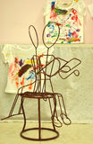 Chair iron design in art classroom Royalty Free Stock Images