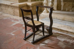 Chair with kneeling in church Royalty Free Stock Photos