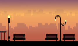 Chair and lamp on the street beauty landscape silhouettes. Vector vector illustration