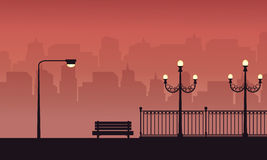 Chair and lamp on the street scenery silhouettes. Illustration stock illustration