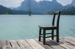 The chair with landscape background Royalty Free Stock Photos