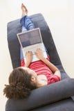 chair laptop sitting using woman Στοκ Εικόνες