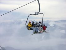 On a chair lift Stock Image
