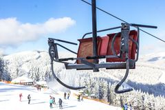 Free Chair Lift At The Ski Resort Bukovel In Ukraine Stock Image - 138269881