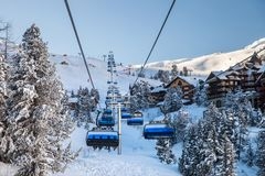 Free Chair Lift At The Ski Resort In Mountain Royalty Free Stock Photography - 162224877