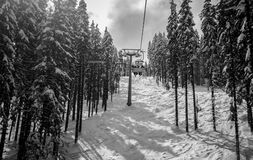 Chair Lift BW Royalty Free Stock Photos