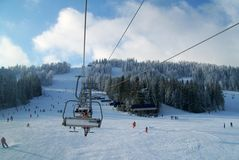 Chair lift in Carpathians Royalty Free Stock Photos