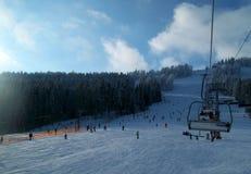 Chair lift in Carpathians Stock Photo