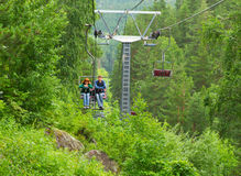 Chair lift couple Stock Photo