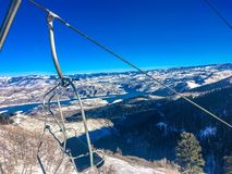 Chair lift and deer creek reservoire Royalty Free Stock Photo