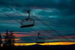 Chair lift dying high over a Northern Arizona Sunset stock image