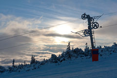 Chair lift gear on winter ski resort Royalty Free Stock Photography