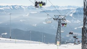 Chair Lift Laax Dolly Switzerland Timelapse 4k stock video