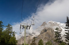 Chair lift and Mont Blanc Royalty Free Stock Photo
